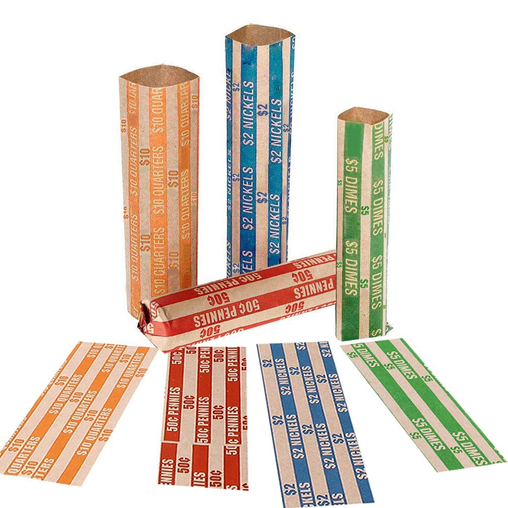 Coin Rolls Wrappers, 600 Assorted Flat Coin Wrappers - 150 of Each Quarters, Dimes, Nickels, Pennies, ABA Striped Kraft Paper Coin Roll Wrappers by Alritz (Image #3)