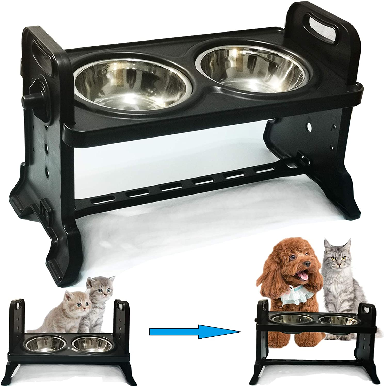 Height-Adjustable Cat Bowl,Raised Cat Food Bowls Anti Vomiting,Tilted Elevated Cat Bowl,Stainless Steel Pet Food Bowl for Flat-Faced Cats,Small Dogs,Protect Pet's Spine,Dishwasher Safe (Black-New)