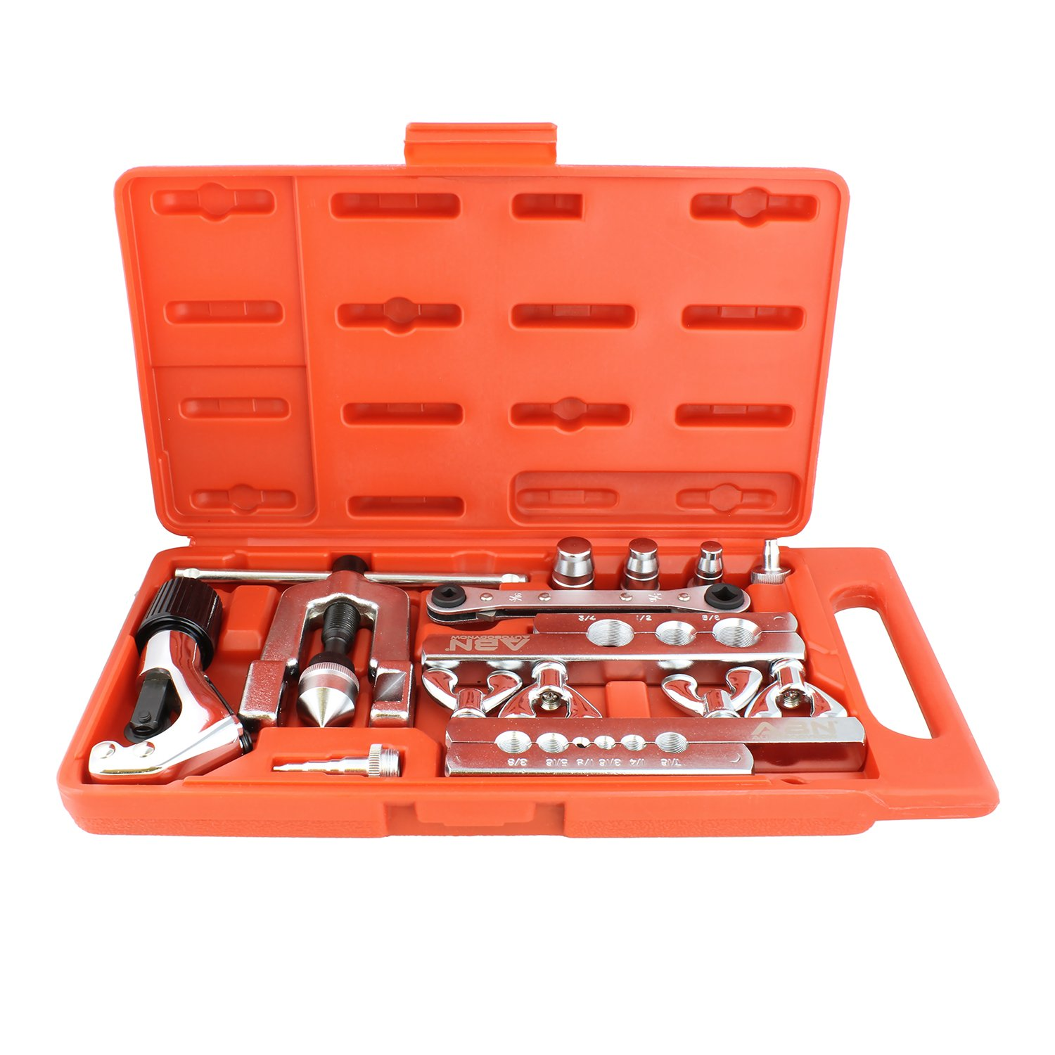 Brake Line Swage and Tube Flare Kit ABN Flaring Tool Set 10 Piece Flaring and Swaging Tool Kit with Tube Cutter