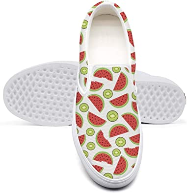 Watermelon Slices Fruit Pineapple Low Top Canvas Sneakers Skateboard Shoes Slip on Lace-up Fashion Sneaker Shoe Women