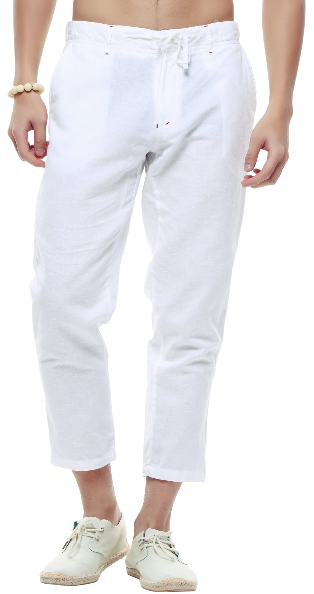 utcoco Men's Classic Drawstring Waist Tapered Flat-Front Linen Capris (Large, White)