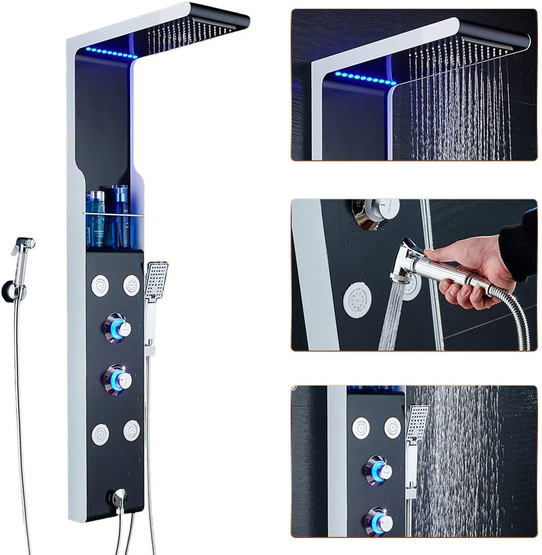 Stainless Steel Shower Panel Tower LED Rain Waterfall w//Massager Body System US