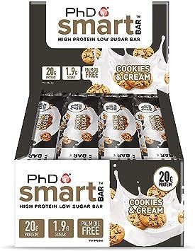 PhD Smart Bar Barritas Proteína Galletas y nata (12 x 64g), 31% Proteína