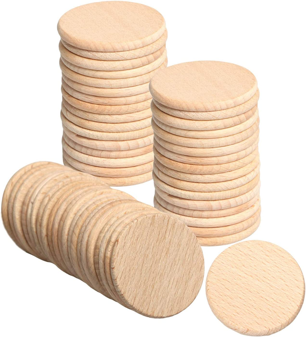 2 Inch Wood Circles 50pcs Unfinished Round Discs Blank Wooden Cutout Slices