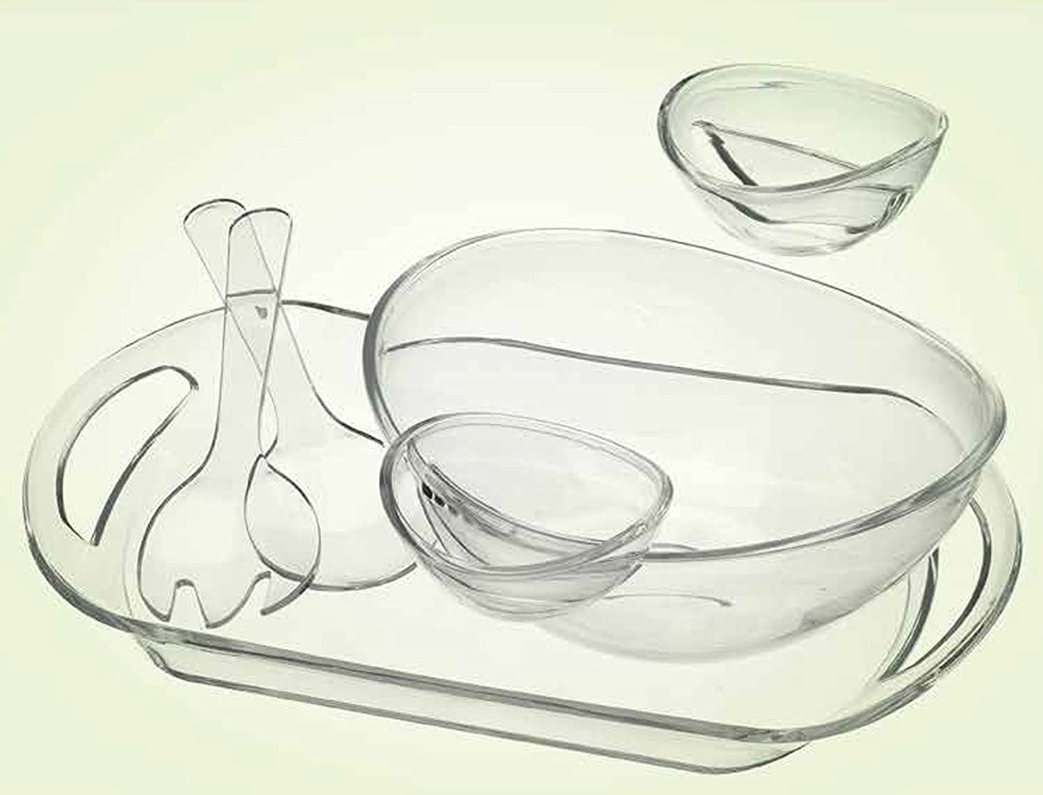 Attractive ACRYLIC Chip and Dip Set 6-PIECE SERVING SALAD With TRAY Le/'raze