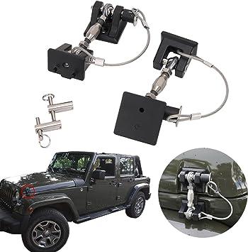 Pair Black Aluminum Locking Hood Lock Latch Catch For Jeep Wrangler JK 2007-2017