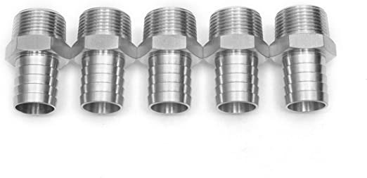 LTWFITTING Bar Production Stainless Steel 316 Barb Fitting Coupler//Connector 5//8 Hose ID x 3//8 Male NPT Air Fuel Water Pack of 25