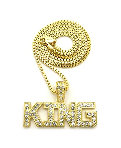 Hip hop micro iced out king word pendant various chain necklace in hip hop micro iced out king word pendant various chain necklace in gold tone 2mm aloadofball Choice Image