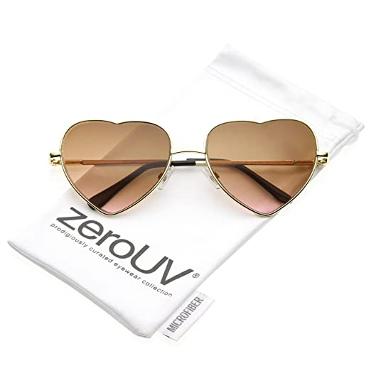 323f46eccd Amazon.com  Small Thin Metal Frame Temples Vibrant Colored Gradient Lens  Heart Sunglasses 52mm (Gold Amber-Pink)  Clothing