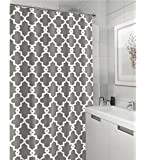 "Geometric Patterned Waterproof 100% Polyester Fabric Shower Curtain for Bathroom 72"" x 84"" Extra Long- GREY"