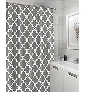 Geometric Patterned Waterproof 100 Polyester Fabric Shower Curtain For Bathroom 72 X 84