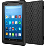 MoKo Case for All-New Amazon Fire HD 8 Tablet (7th Generation, 2017 Release Only) - [Honey Comb Series] Light Weight Shock Proof Soft Silicone Back Cover [Kids Friendly] for Fire HD 8, BLACK