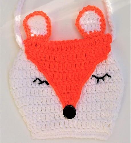 Special Cute Little Girls Handbag Crocheted Adorable Animal Sleeping Fox Purse Kids Birthday Gifts Daughter Son Granddaughter Grandson Niece Nephew Darling