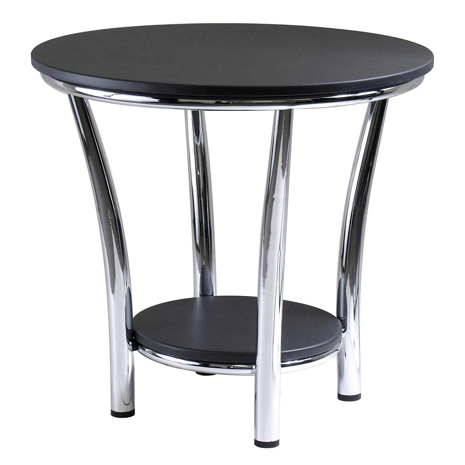 Amazon com winsome wood maya round end table black top metal legs kitchen dining
