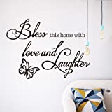 Stonges Bless This Home with Love and Laughter Wall Decoration Wall Stickers Removable Wall Stickers