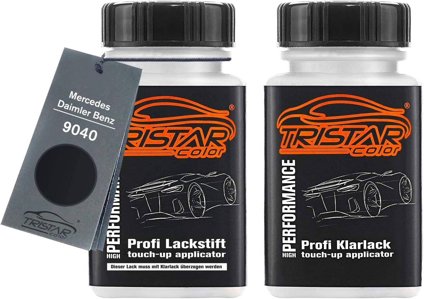 Tristarcolor Autolack Lackstift Set Für Mercedes Daimler Benz 9040 Tiefschwarz Deep Black Basislack Klarlack Je 50ml Auto