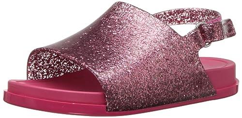 93a3bda00c1e Mini Melissa Girls' Mini Beach Slide Sandal Flat, Pink Glitter, 5 Regular US