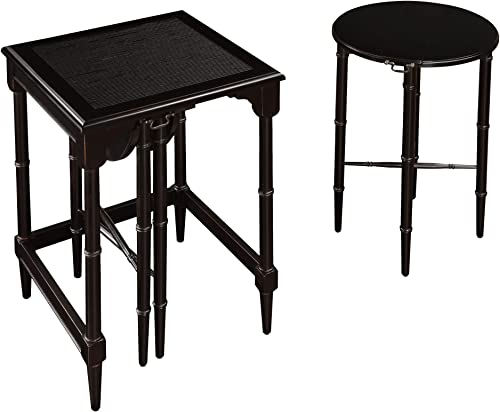 Sterling Melbourne Traditional Asian Hardwood Nesting Tables, 24-Inch, Ebony