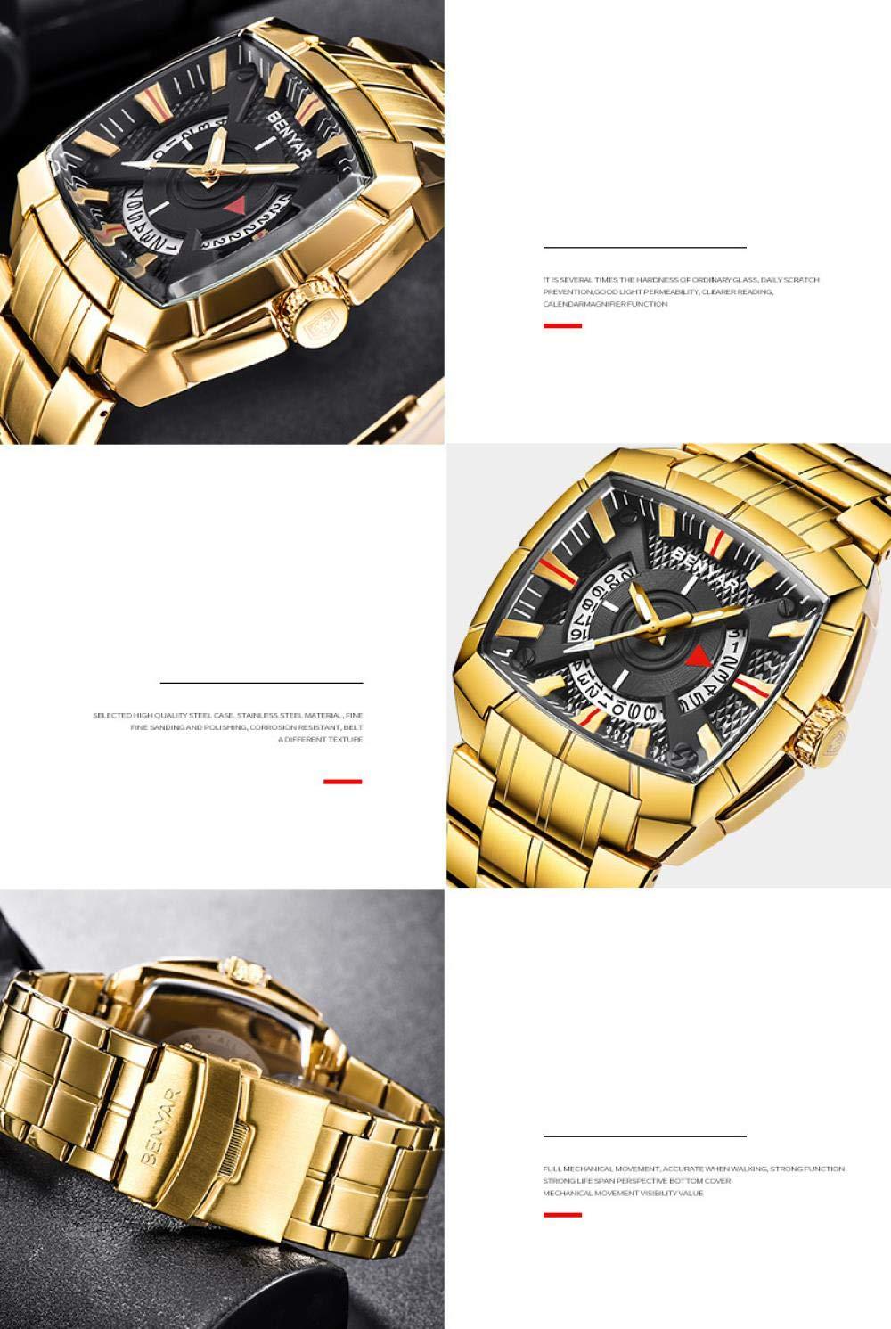 Herrklockor, modetrend med kalenderfunktion fyrkantig stor urtavla kvartsklocka Gold Gold Belt