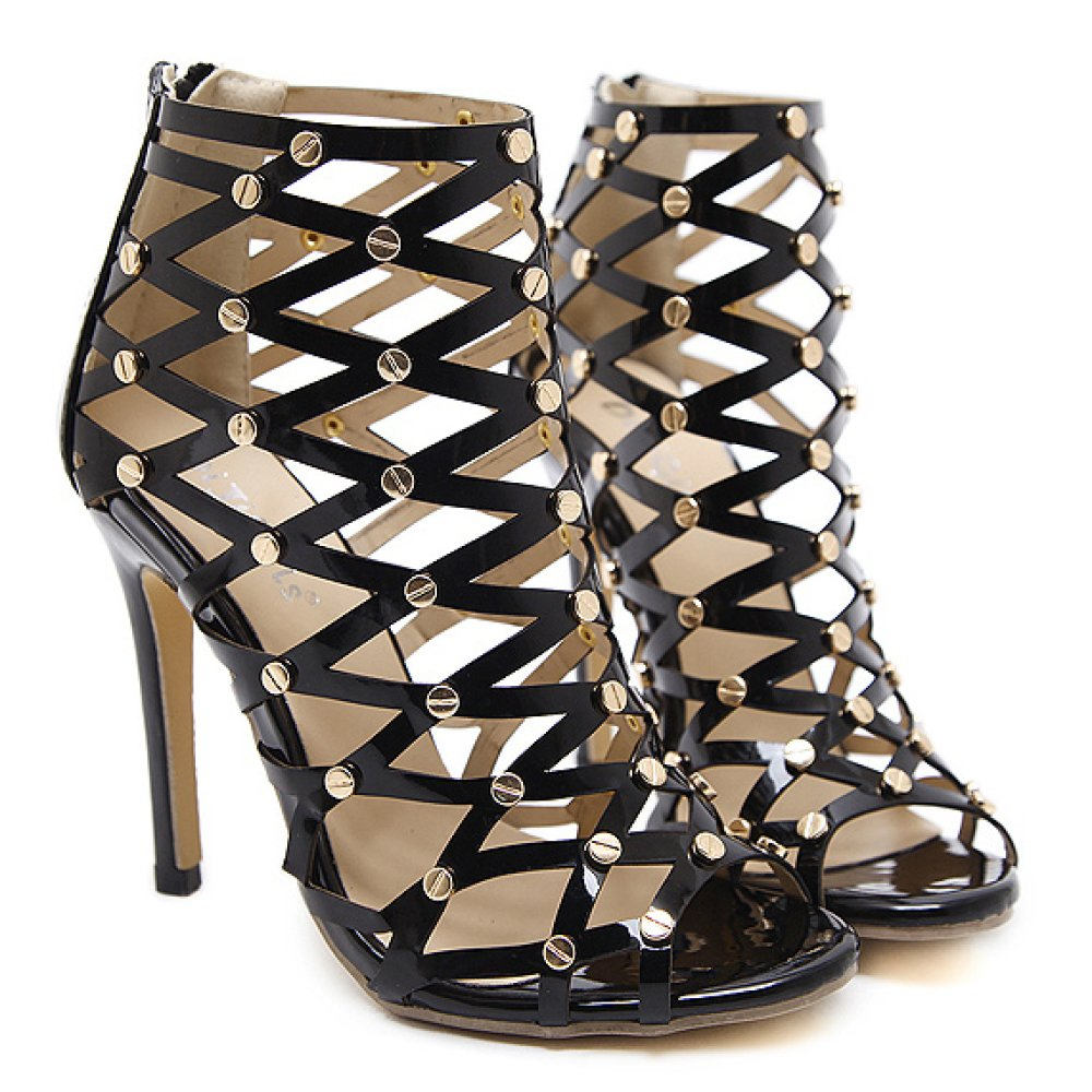 ZPFME ZPFME ZPFME Frauen Sandalen Sexy Niet Roman Schuhe Stiletto High Heels Braut Ausgeschnitten Pumps Damen Hochzeit Kleid Peep Toe Schuhe 52ef8b
