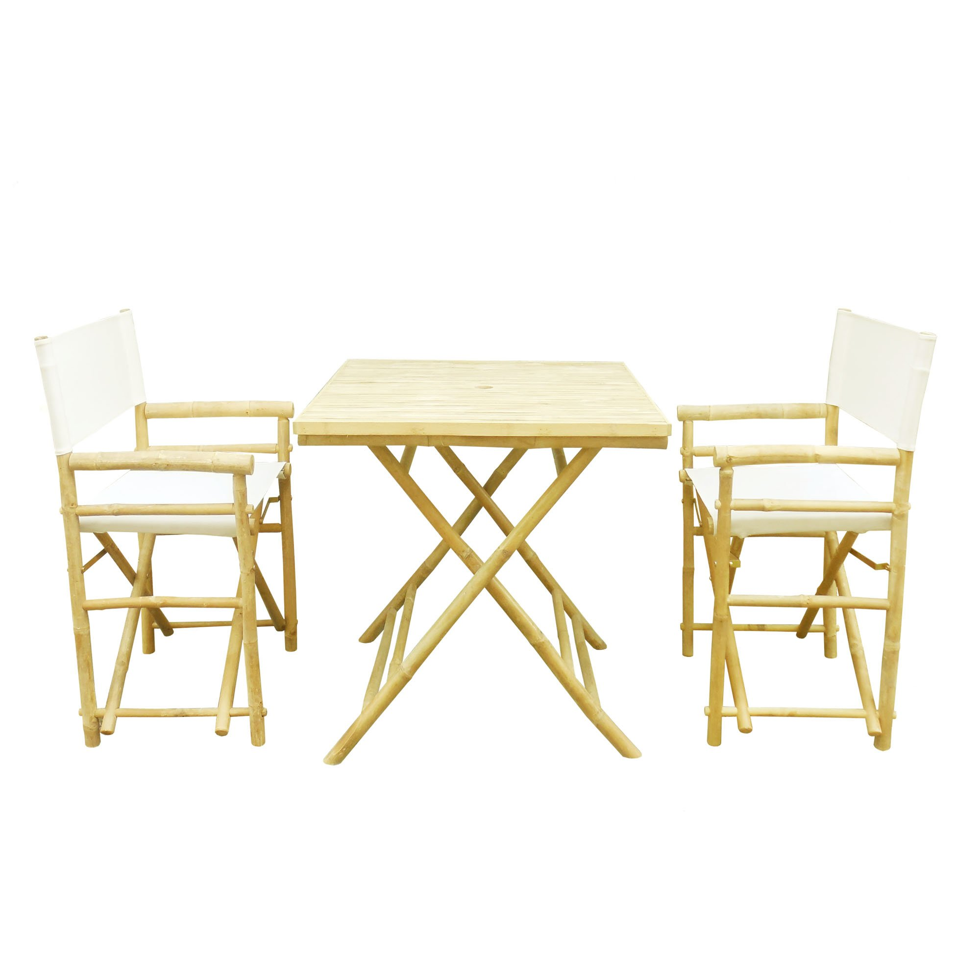 Zero Emission World Set-012-03 Set Of 1 Square Table (Ta-142) + 2 Director Chairs (Each Canvas-White, Natural, 31.5X31.5X29.5 22.83X18.11X35.43