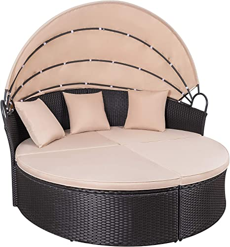KaiMeng Patio Sectional Round Daybed Rattan Outdoor Sofa Retractable Canopy, PE Wicker Bed Furniture with Cushion Detachable for Backyard Garden Porch Beige