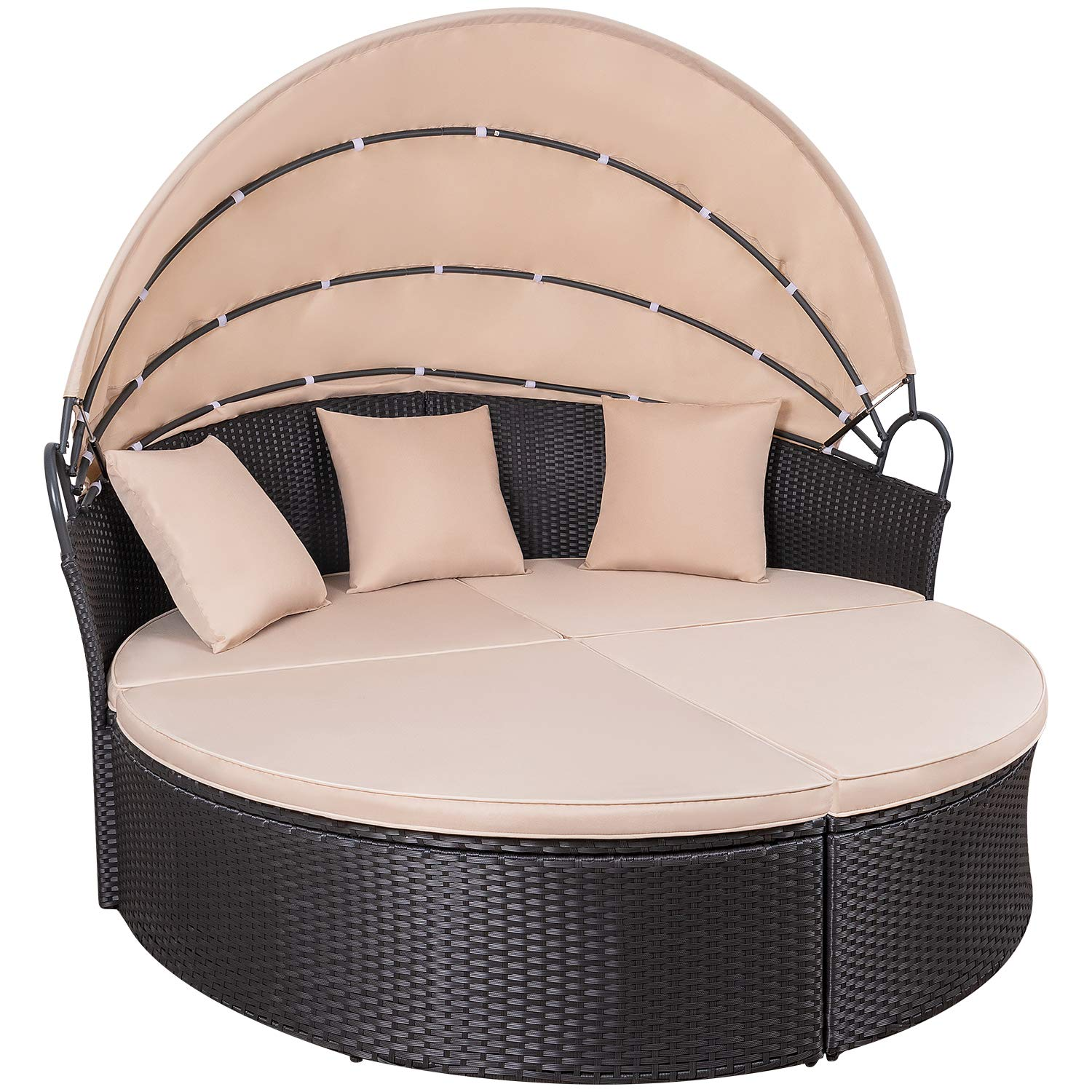 KaiMeng Patio Sets Outdoor Round Daybed with Retractable Canopy PE Rattan Wicker Furniture with Cushion and Pillows Detachable for Patio Garden Backyard Pool (Black) by KaiMeng