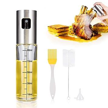 iTrunk Öl Sprüher Dispenser mit Einem Häkchen Kennzeichen,Sogar Sprühen Öl Flaschen Sprühgerät Nachfüllbares Lebensmittelglas