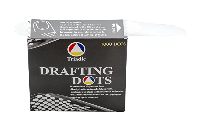 Amazon.com : 1, 000 Triadic Drafting Dots, No Tear, 7/8 Diameter for Artwork, Blueprints, Drafting and More : Office Products