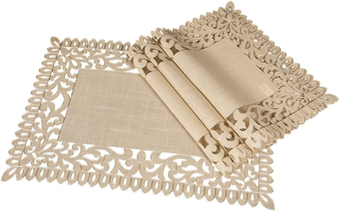 Xia Home Fashions XD17145 Vine Embroidered Cutwork Placemats, 14 by 20-Inch, Burlywood, 4 Piece