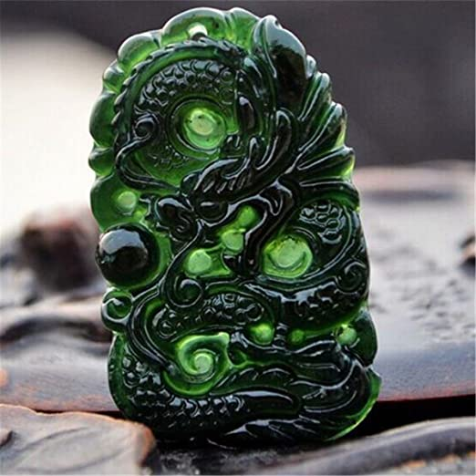 Chinese Natural Black Green Jade Pendant Dragon Phoenix Good Lucky Amulet Gift