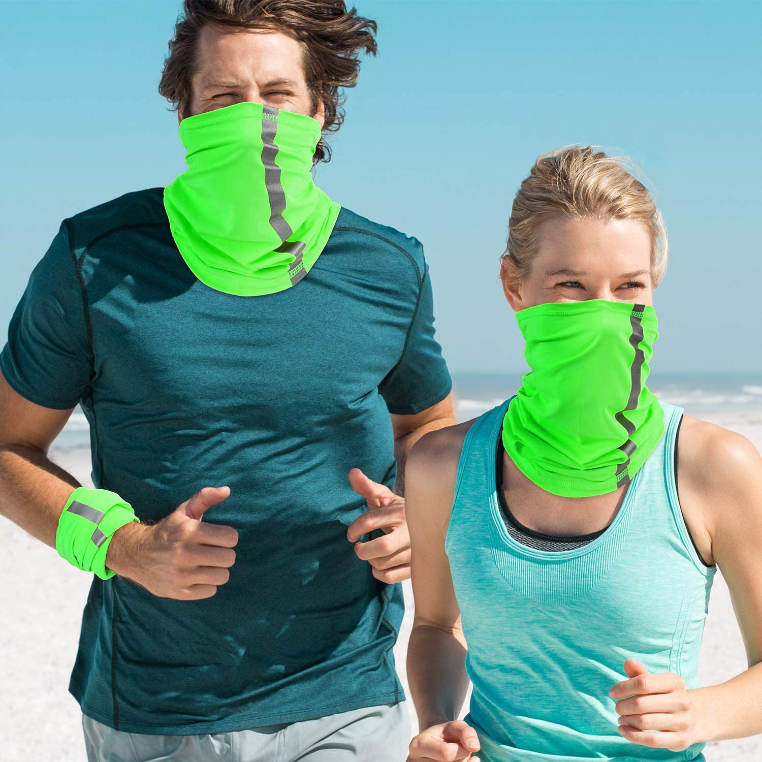 DiaryLook Summer Florescent Reflective Stripe Safety Face Cover Neck Gaiter Multifunctional Headwear Bandana Face Scarf,C ool Breathable Summer Neck Tube Scarf UV Protection