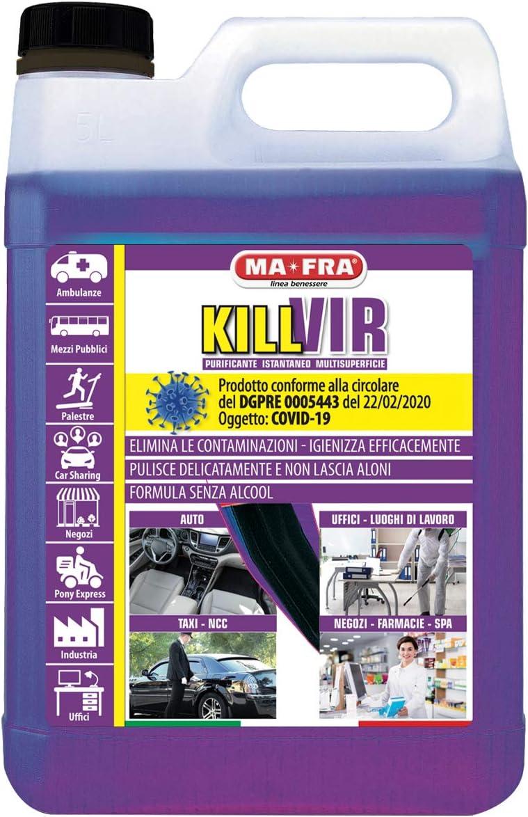 Killvir MAFRA P1161 Tanica da 5 L Pulizia e Igienizzazione Profonda su Tutte le Superfici Purificante Istantaneo Multisuperficie a Base di Perossido dIdrogeno