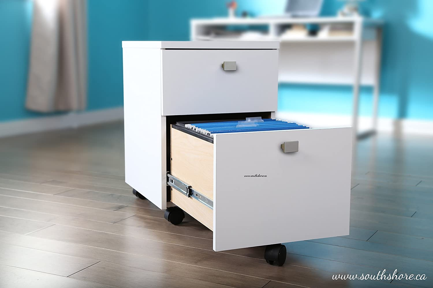 amazoncom south shore interface 2drawer mobile file cabinet pure white kitchen u0026 dining
