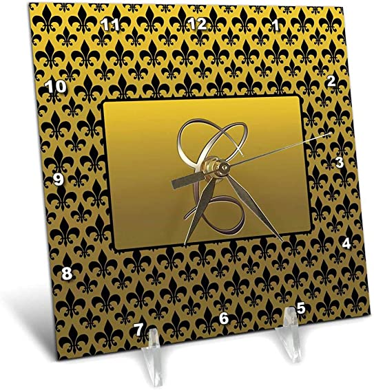 3dRose dc_36081_1 Elegant Letter C Embossed in Gold Frame Over A Black Fleur-De-Lis Pattern on A Gold Background-Desk Clock, 6 by 6-Inch