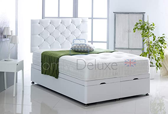 Faux Leather Ottoman Foot Lift Bed Base with HEADBOARD