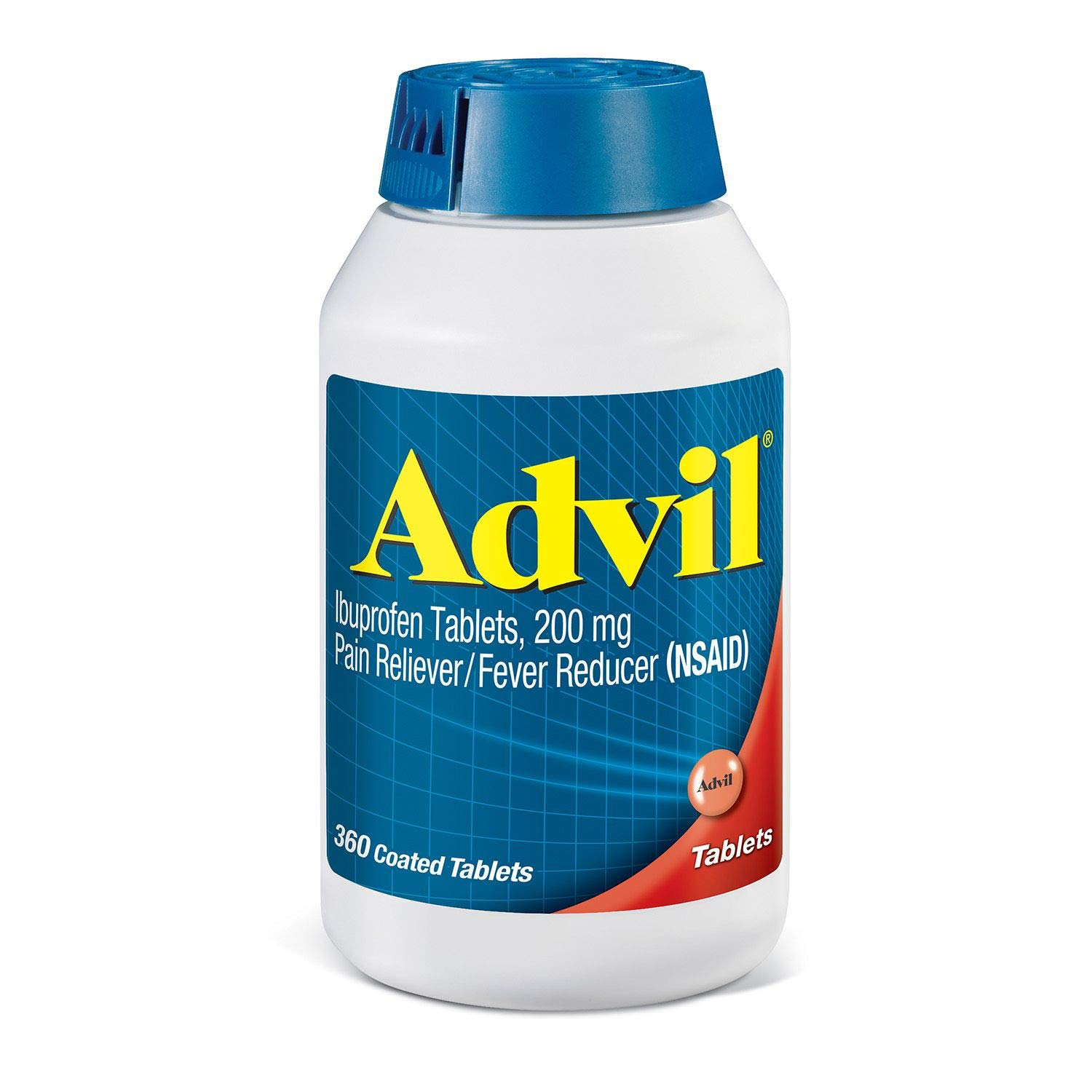 Advil Pain Reliever/Fever Reducer, 200mg Ibuprofen, Special Larger Size 2 Pack ( 360-Count Coated Tablets Each ) by Advil