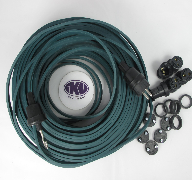 Endst/ück IKu /® Bausatz Illu Lichterkette 25 Meter 40 Fassungen Dunkelgr/ünes Kabel Stecker