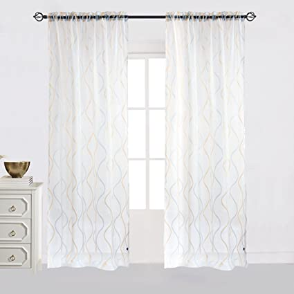 Amazoncom Cheery Home Wave Sheer Curtains Voile Panels Drapes Rod
