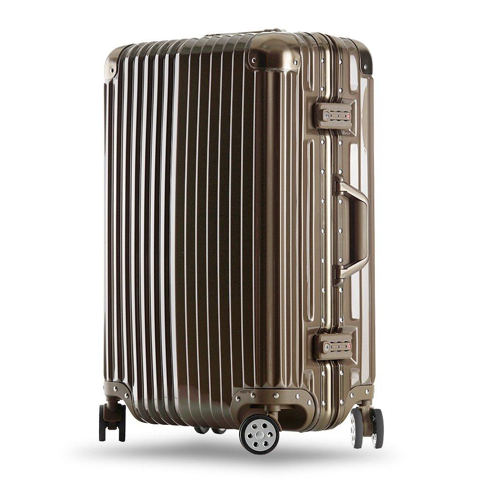 クロース(Kroeus)スーツケース キャリーケース 耐衝撃 仕切り板 クロスベルト付き メッシュポケット 海外旅行 出張 360度静音キャスター 保護用ガード TSAロック 大容量 B0727SMBLY M|ゴールド ゴールド M