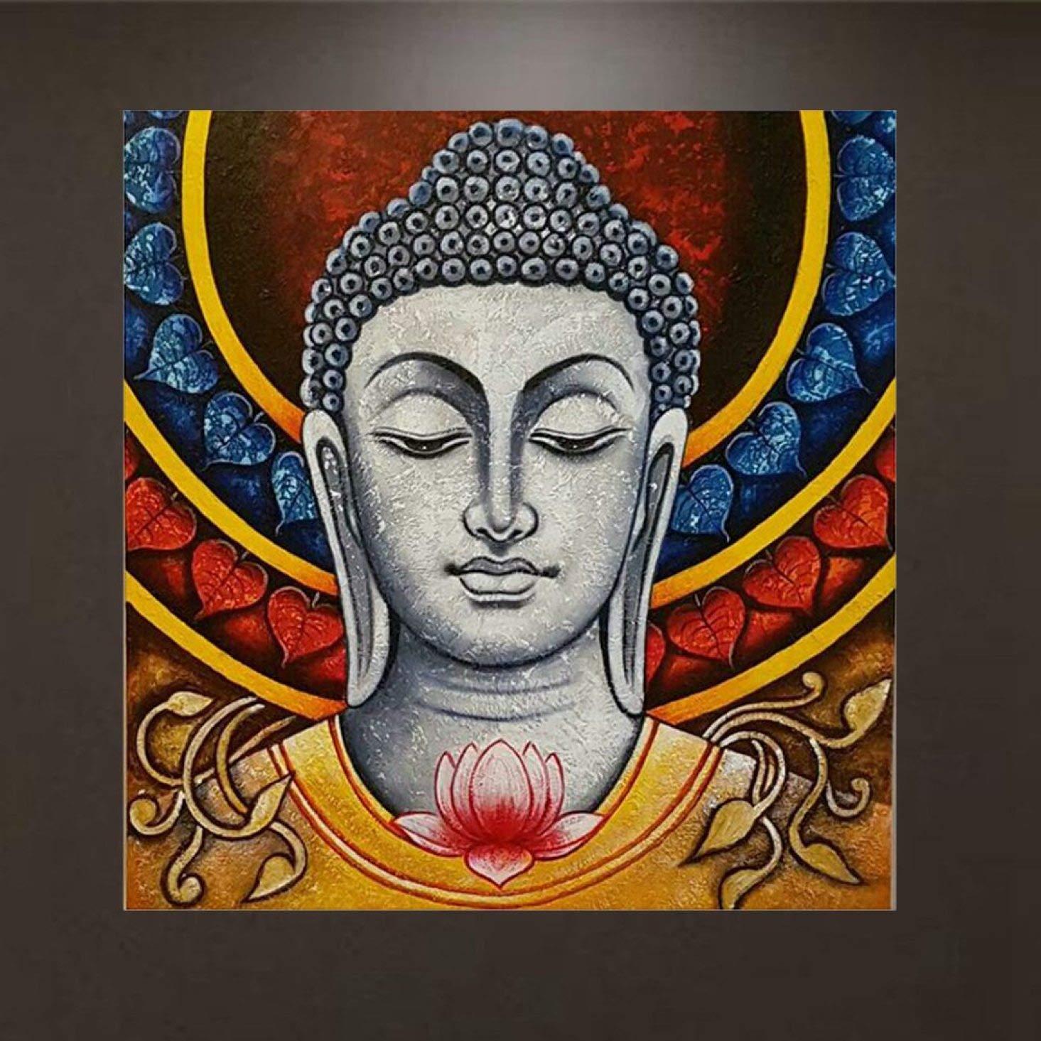 QTBWen fine craftsmanship Diamond Embroidery Buddha Religous Diamond Painting Cross Stitch Mosaic Pattern Full Rhinestone Home Decor for Home Decoration None k411