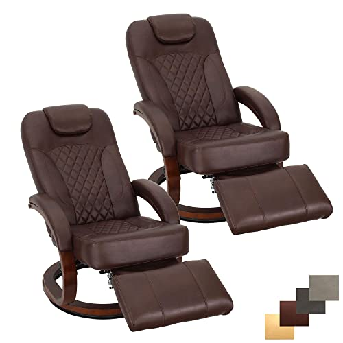 RecPro Nash 28 RV Euro Chair Recliner Modern Design RV Furniture Swivel Base Recliner Chair 2 Chairs, Mahogany
