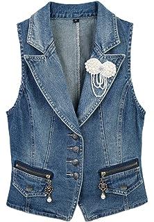 98aaf921716d90 CYSTYLE 2018 Damen Blazer Weste Jacke Ärmellos Einfache Beiläufige  Jeansweste mit Perle Korsage