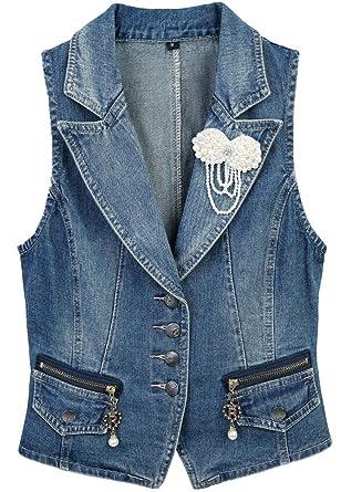 3371dcddf580e5 CYSTYLE 2018 Damen Blazer Weste Jacke Ärmellos Einfache Beiläufige  Jeansweste mit Perle Korsage (EU XXS
