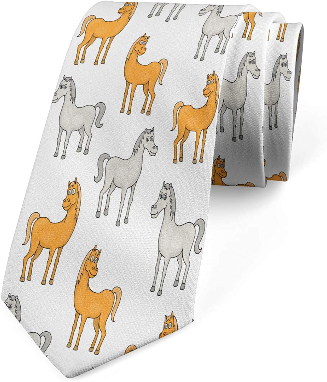 Apricot Pale Grey White 3.7 Country Farm Animals Pattern Lunarable Mens Tie