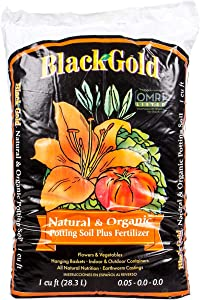 SunGro Black Gold All Purpose Natural and Organic Potting Soil Fertilizer Mix for House Plants, Vegetables, Herbs and More, 1 Cubic Feet Bag