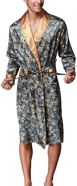 VERNASSA Baño para Hombre, Satén Kimono Pijamas, Bata Albornoz de para Dormir/Casa/Cama/SPA, L-XXL, Talla Extra: Amazon.es: Ropa y accesorios