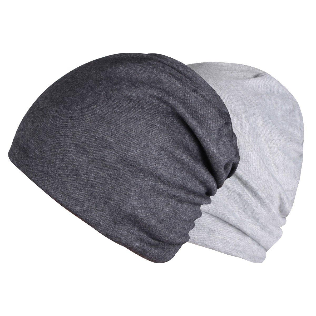 Timol 2 Pack Grey Beanie Chemo Caps for Women Men Cancer Headwear Summer Hat(Dark Gray and Light Gray)