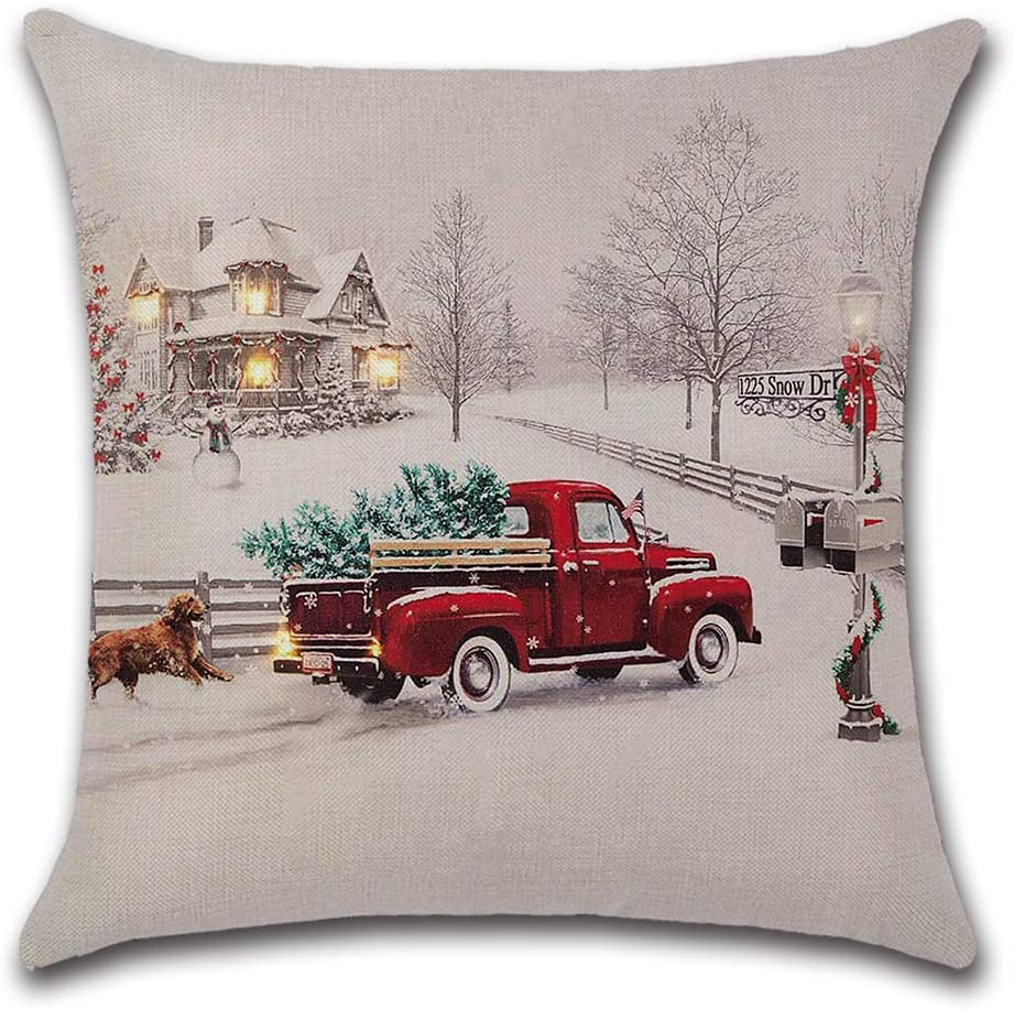 "axsl Farmhouse Christmas Tree in Red Car Pillow Cover Cute Dog Pillow Cushion Case Throw Pillow Case Cushion Cover 18"" x 18"" 45cm x 45cm"