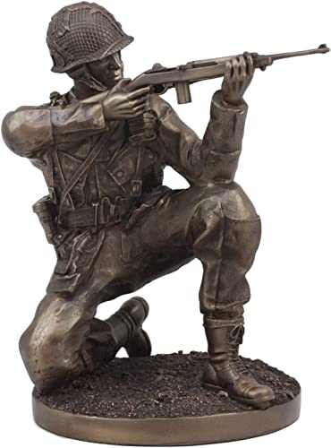 Ebros WW2 Soldier Taking Aim Statue 8.75 Tall Military Rifle Unit Infantry Figurine